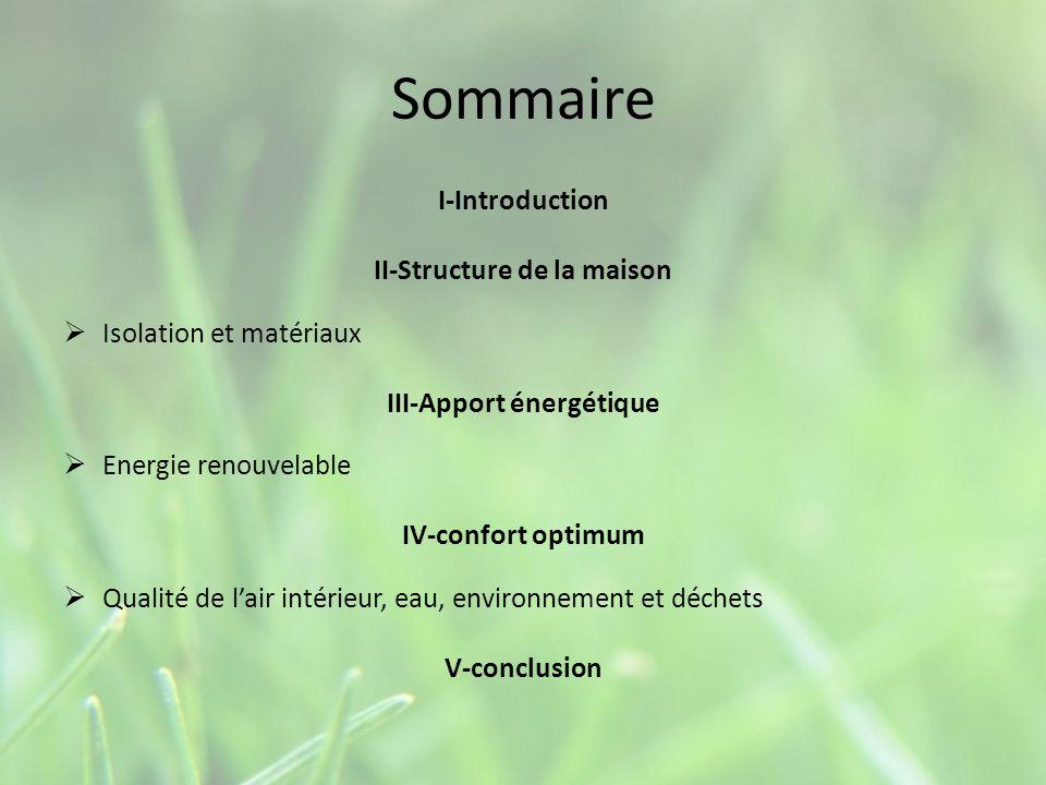 Sommaire I-Introduction II-Structure de la maison Isolation et matériaux III-Apport énergétique Energie renouvelable IV-confort optimum Qualité de lai