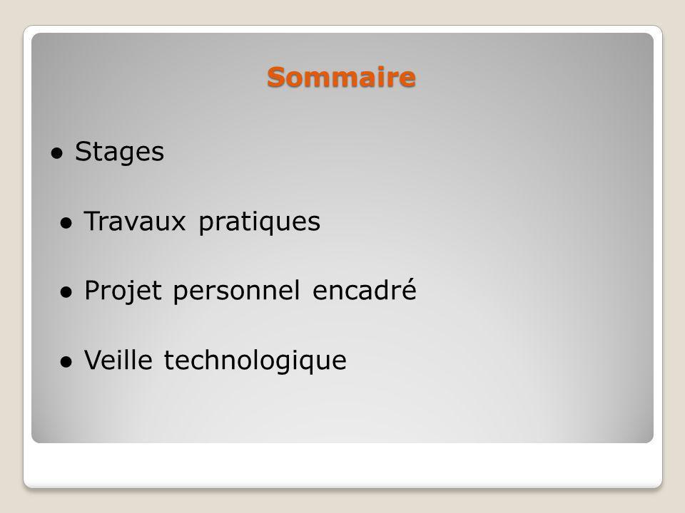 Sommaire Stages Travaux pratiques Projet personnel encadré Veille technologique