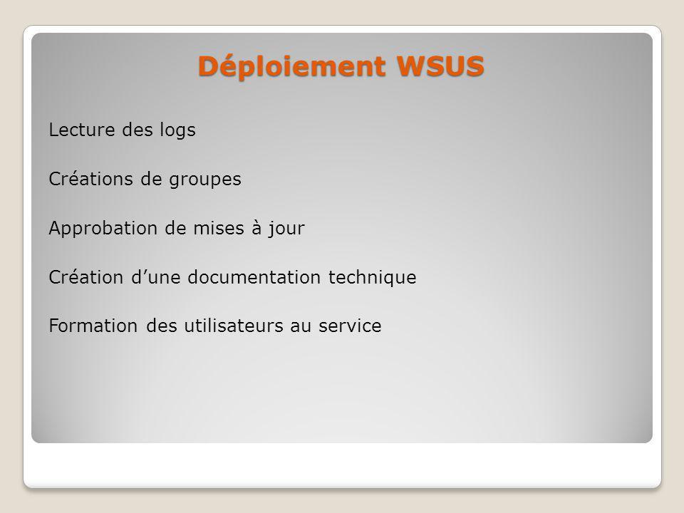 Déploiement WSUS Lecture des logs Créations de groupes Approbation de mises à jour Création dune documentation technique Formation des utilisateurs au