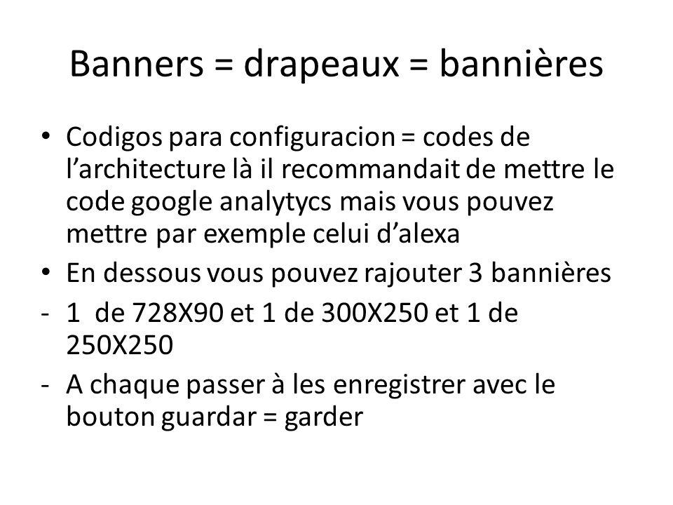 Banners = drapeaux = bannières Codigos para configuracion = codes de larchitecture là il recommandait de mettre le code google analytycs mais vous pouvez mettre par exemple celui dalexa En dessous vous pouvez rajouter 3 bannières -1 de 728X90 et 1 de 300X250 et 1 de 250X250 -A chaque passer à les enregistrer avec le bouton guardar = garder