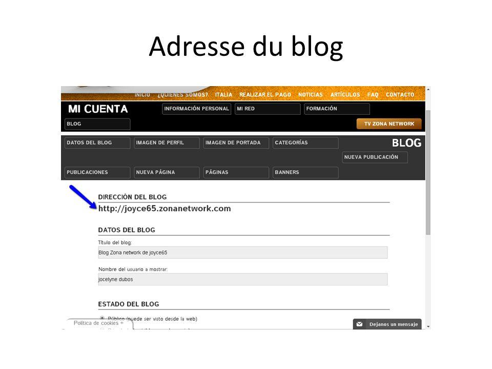 Adresse du blog