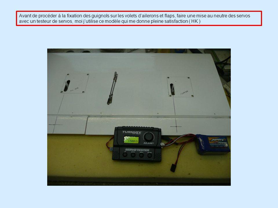 Après avoir passé les câbles des 2 servos, montage de ceux-ci sur laile et fixation avec les vis fournies