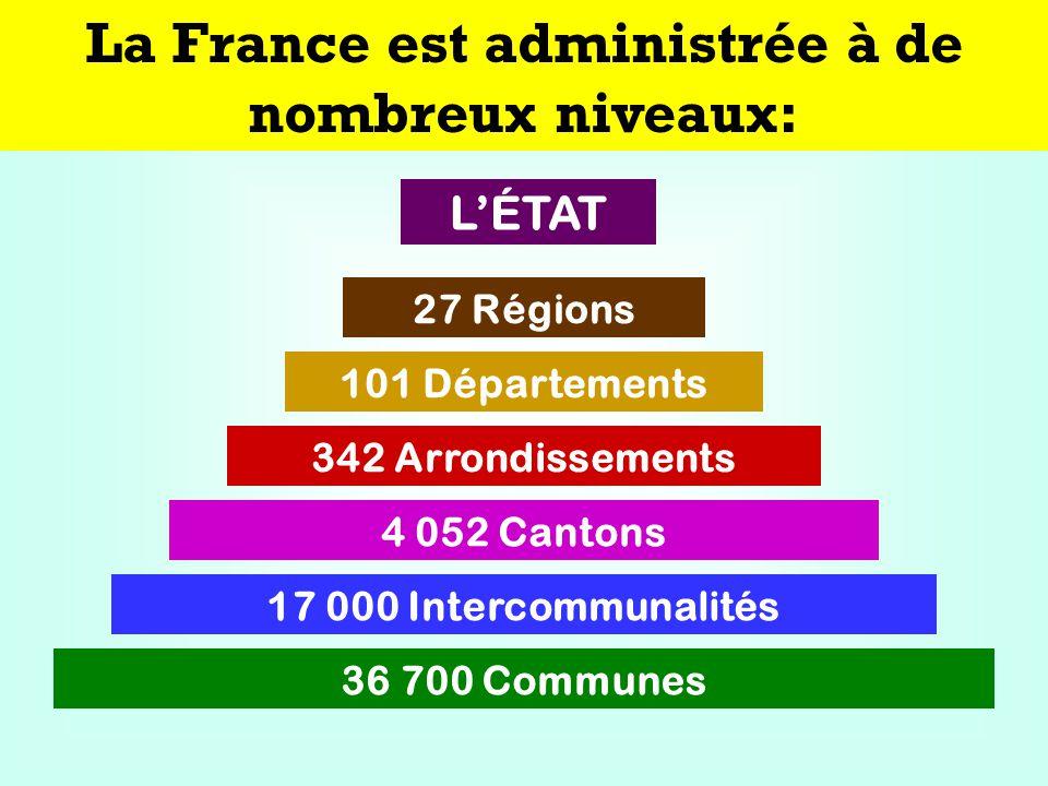 La France est administrée à de nombreux niveaux: 27 Régions 101 Départements 342 Arrondissements 17 000 Intercommunalités 4 052 Cantons 36 700 Communes LÉTAT