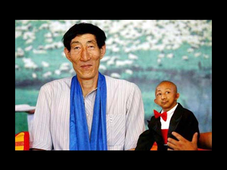 Le grand et le petit Bao Xishun a eu l'occasion de rencontrer He Pingping, 74 centimètres, le plus petit homme du monde, (toujours selon le livre Guin