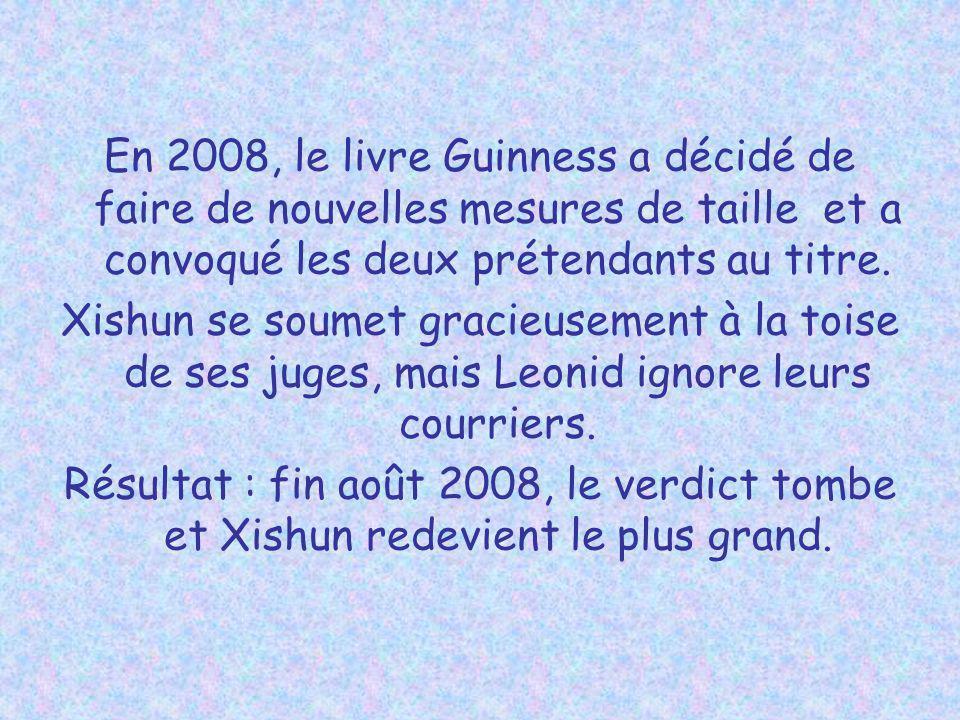 En 2008, le livre Guinness a décidé de faire de nouvelles mesures de taille et a convoqué les deux prétendants au titre.