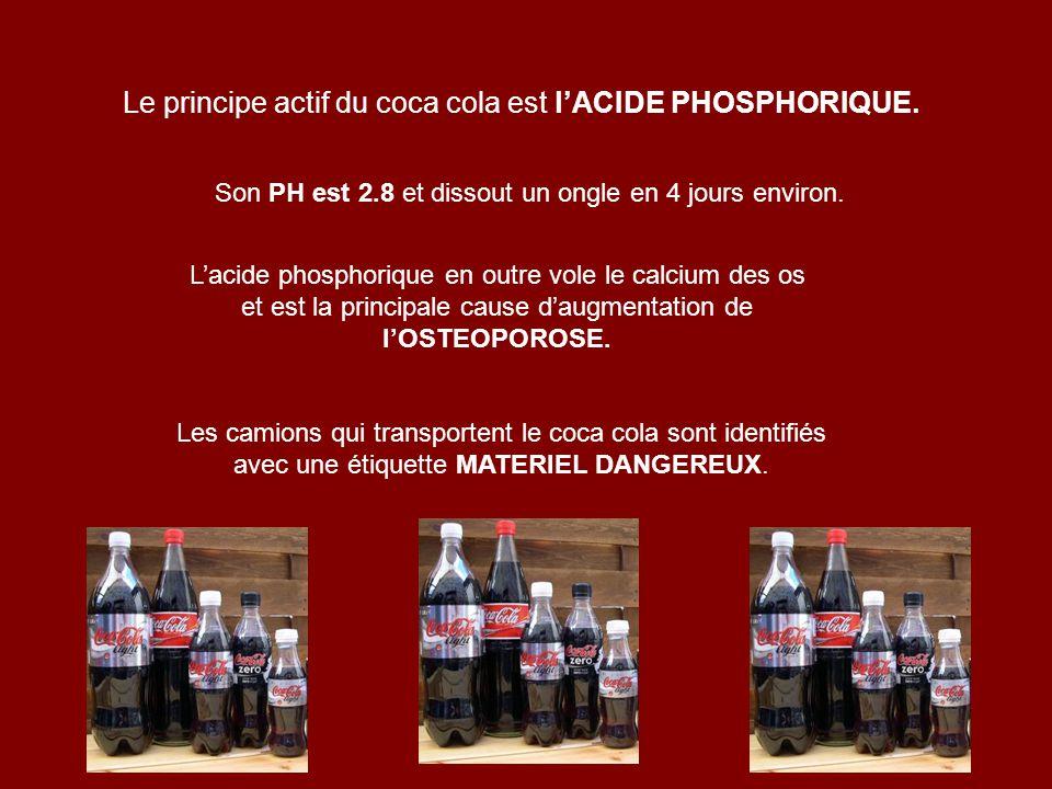 Le principe actif du coca cola est lACIDE PHOSPHORIQUE. Son PH est 2.8 et dissout un ongle en 4 jours environ. Lacide phosphorique en outre vole le ca