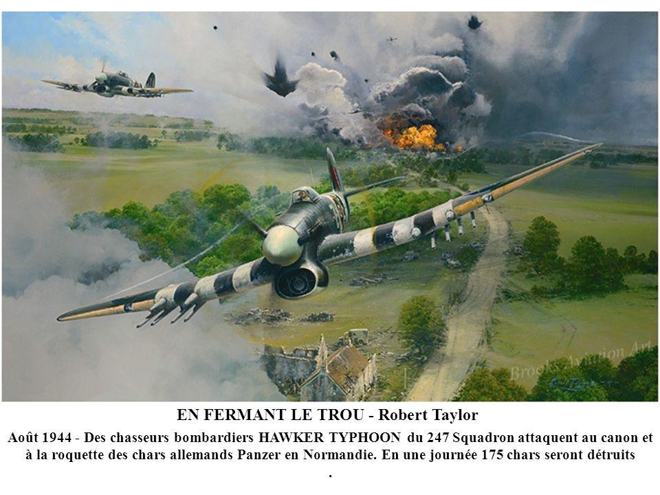 EN FERMANT LE TROU - Robert Taylor Août 1944 - Des chasseurs bombardiers HAWKER TYPHOON du 247 Squadron attaquent au canon et à la roquette des chars allemands Panzer en Normandie.