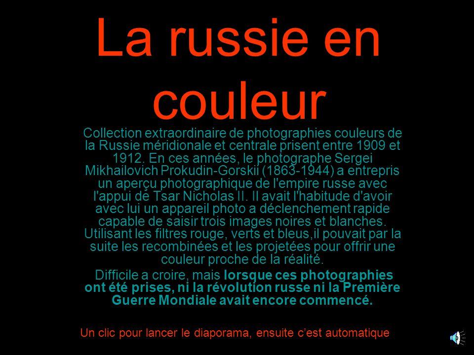 La russie en couleur Collection extraordinaire de photographies couleurs de la Russie méridionale et centrale prisent entre 1909 et 1912.