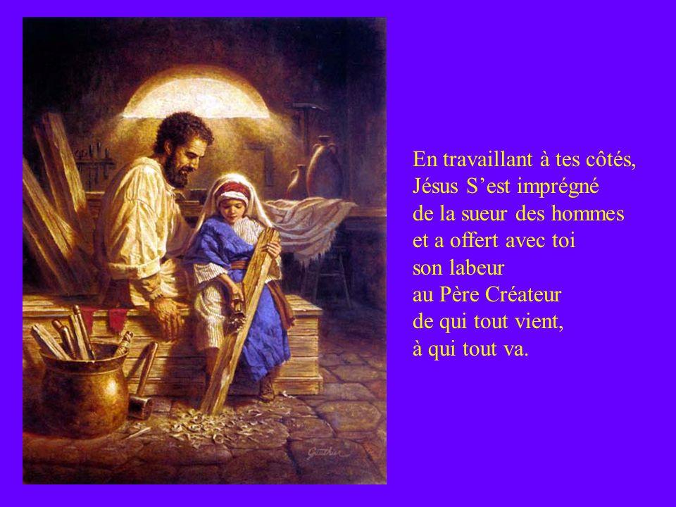 Tu as nourri Celui qui sera Pain de Vie. Tu as accompagné ses jeunes années, Lui donnant dadmirer le visage humain de la paternité, à Lui le Fils, tou