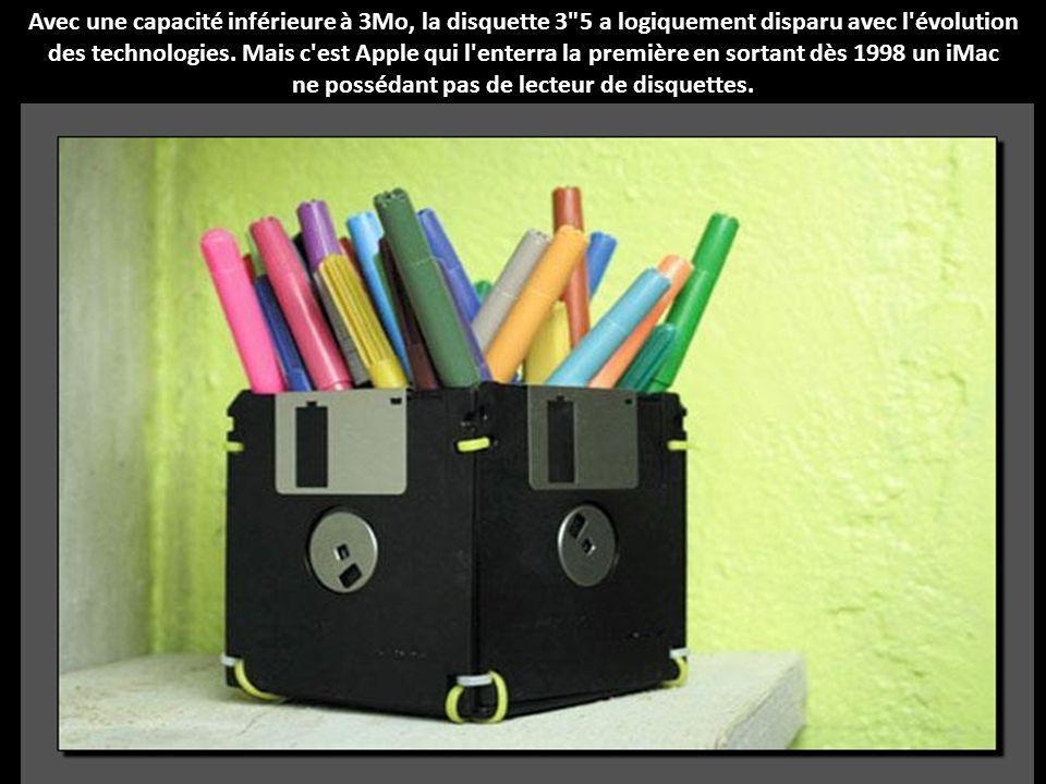 Avec une capacité inférieure à 3Mo, la disquette 3 5 a logiquement disparu avec l évolution des technologies.