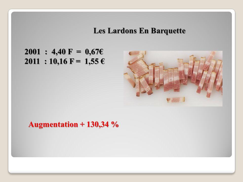 Quatre Tranches De Jambon Blanc 2001 : 13,58 F = 2,07 2001 : 13,58 F = 2,07 2011 : 15,48 F = 2,36 2011 : 15,48 F = 2,36 Augmentation + 14,01 %