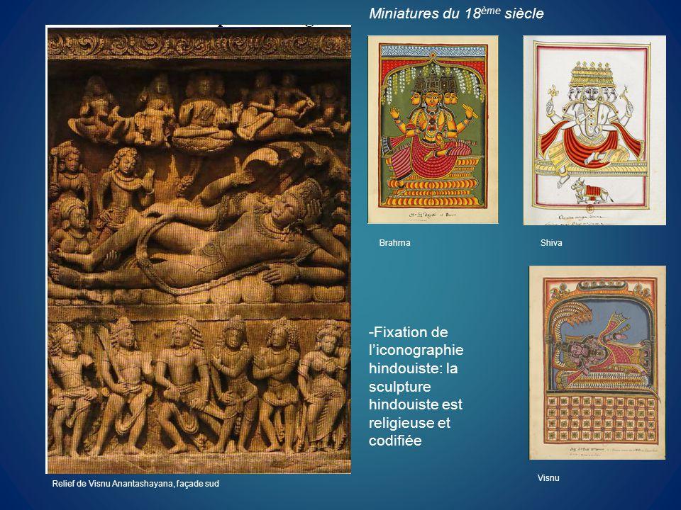Relief de Visnu Anantashayana, façade sud Brahma Visnu Shiva -Fixation de liconographie hindouiste: la sculpture hindouiste est religieuse et codifiée