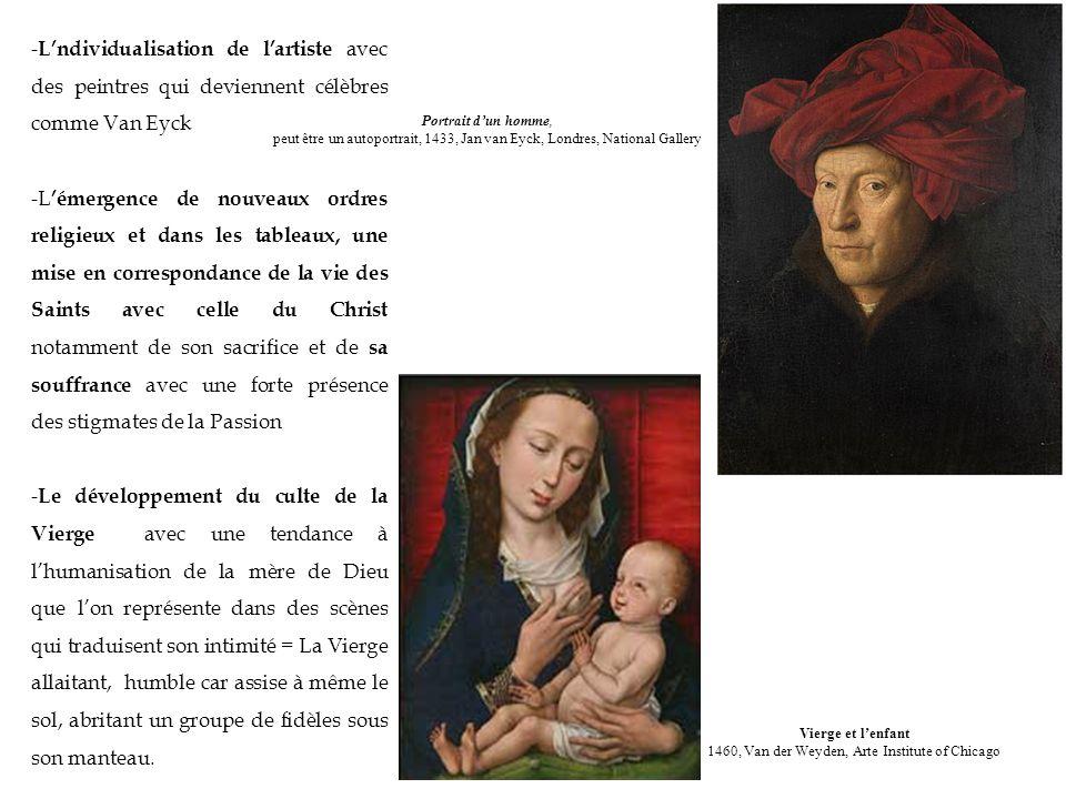 - Lndividualisation de lartiste avec des peintres qui deviennent célèbres comme Van Eyck -L émergence de nouveaux ordres religieux et dans les tableau