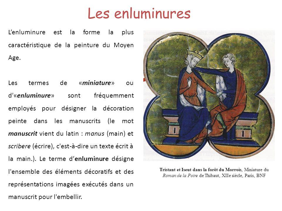 Les enluminures Lenluminure est la forme la plus caractéristique de la peinture du Moyen Age. Les termes de «miniature» ou d'«enluminure» sont fréquem