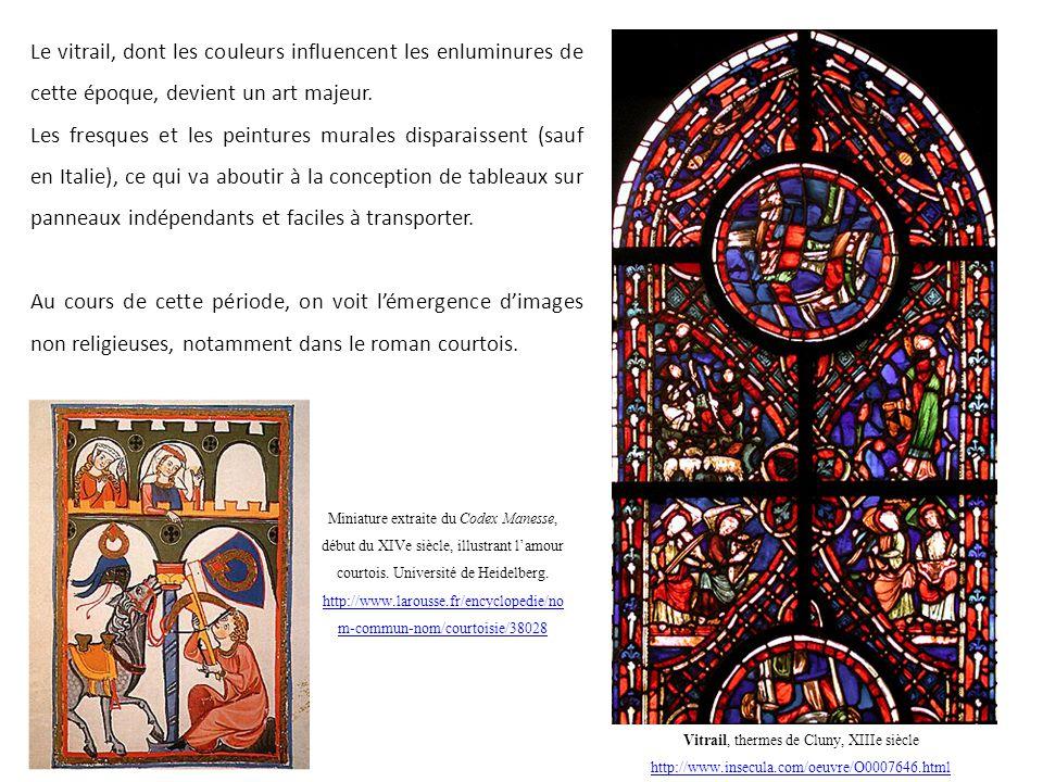 Le vitrail, dont les couleurs influencent les enluminures de cette époque, devient un art majeur. Les fresques et les peintures murales disparaissent