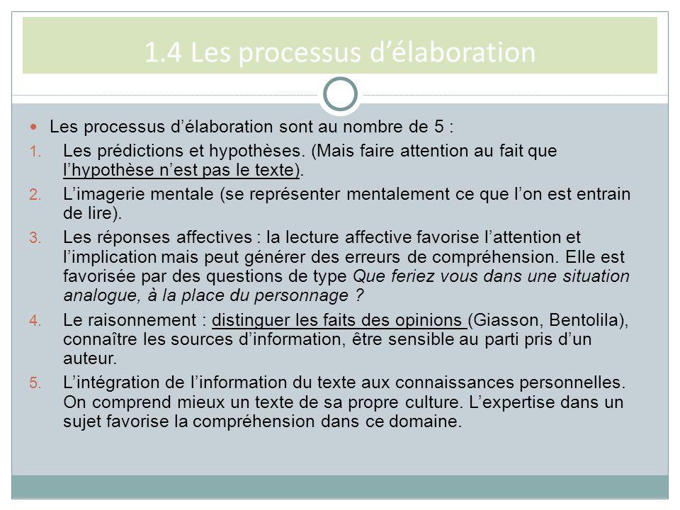1.4 Les processus délaboration Les processus délaboration sont au nombre de 5 : 1. Les prédictions et hypothèses. (Mais faire attention au fait que lh