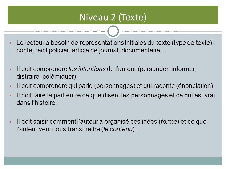 Niveau 2 (Texte) Le lecteur a besoin de représentations initiales du texte (type de texte) : conte, récit policier, article de journal, documentaire…