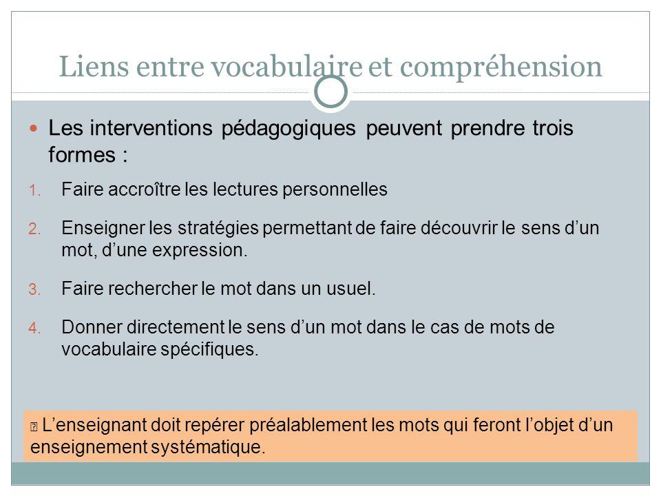 Liens entre vocabulaire et compréhension Les interventions pédagogiques peuvent prendre trois formes : 1. Faire accroître les lectures personnelles 2.