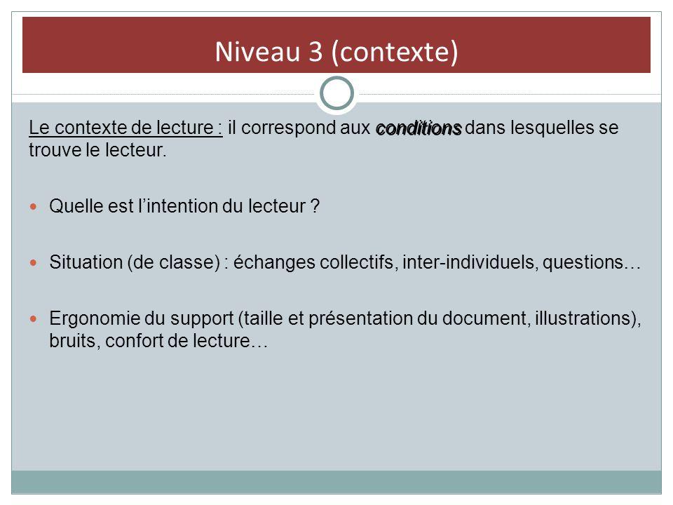 Niveau 3 (contexte) conditions Le contexte de lecture : il correspond aux conditions dans lesquelles se trouve le lecteur. Quelle est lintention du le
