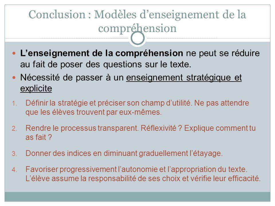 Conclusion : Modèles denseignement de la compréhension Lenseignement de la compréhension ne peut se réduire au fait de poser des questions sur le text