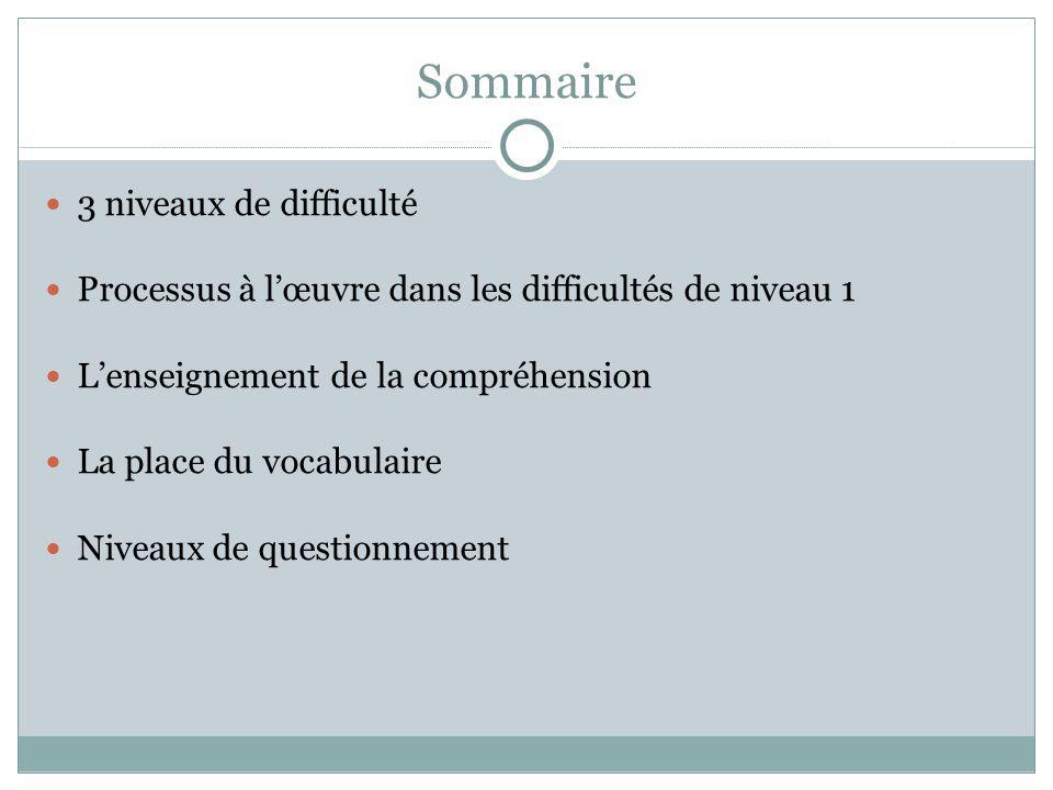 Sommaire 3 niveaux de difficulté Processus à lœuvre dans les difficultés de niveau 1 Lenseignement de la compréhension La place du vocabulaire Niveaux