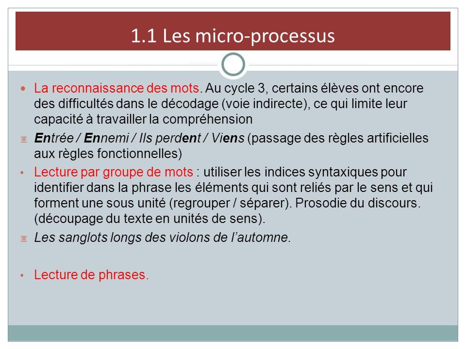 1.1 Les micro-processus La reconnaissance des mots. Au cycle 3, certains élèves ont encore des difficultés dans le décodage (voie indirecte), ce qui l