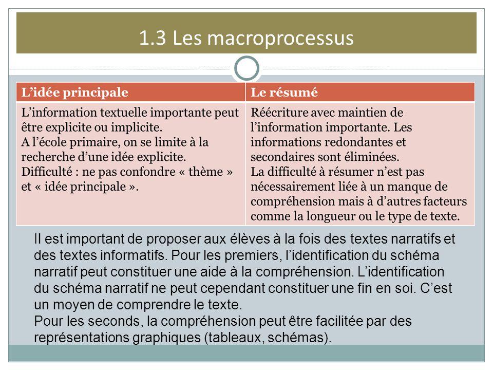 1.3 Les macroprocessus Il est important de proposer aux élèves à la fois des textes narratifs et des textes informatifs. Pour les premiers, lidentific