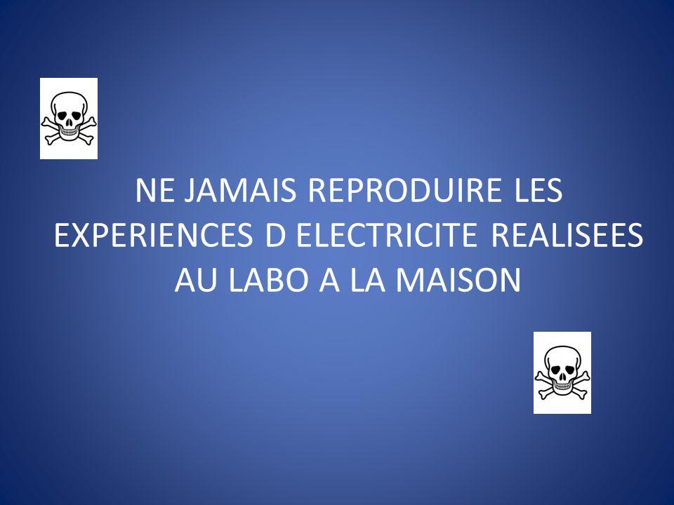 NE JAMAIS REPRODUIRE LES EXPERIENCES D ELECTRICITE REALISEES AU LABO A LA MAISON