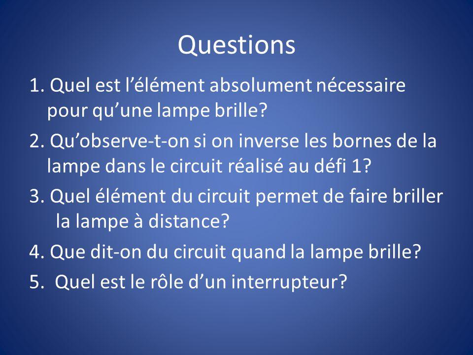 Questions 1.Quel est lélément absolument nécessaire pour quune lampe brille.