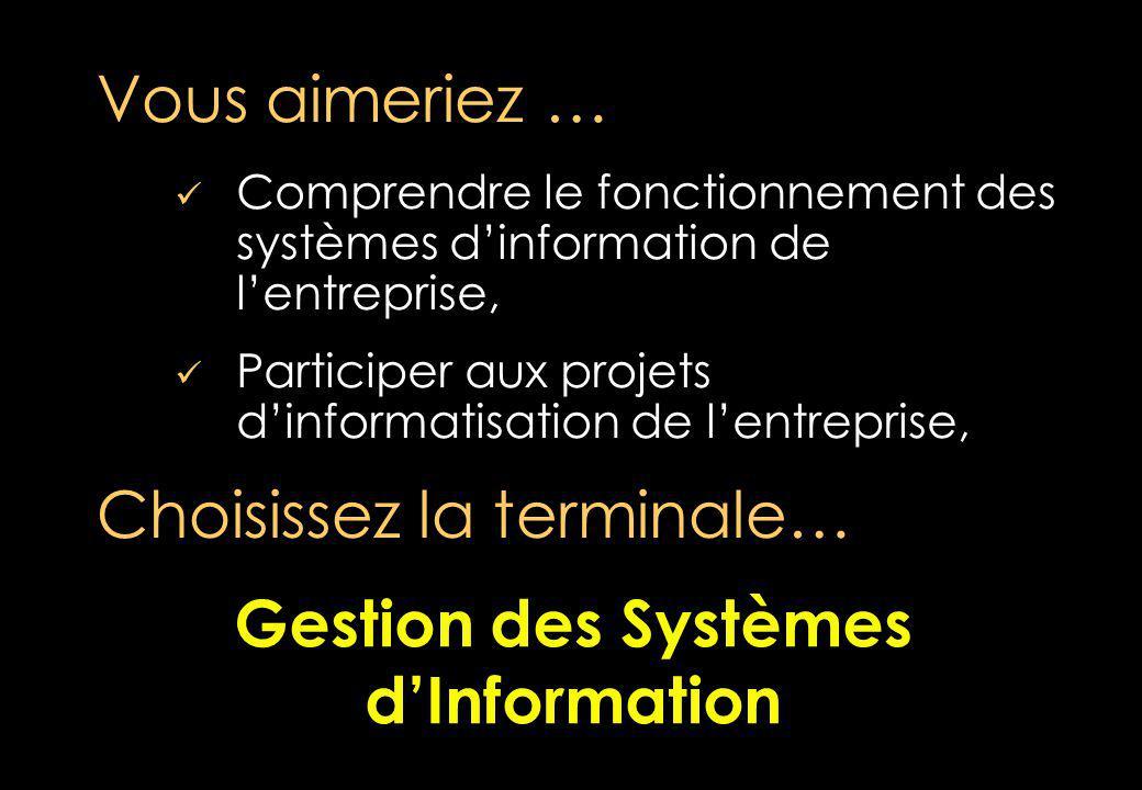 Comprendre le fonctionnement des systèmes dinformation de lentreprise, Participer aux projets dinformatisation de lentreprise, Vous aimeriez … Choisissez la terminale… Gestion des Systèmes dInformation Gestion des Systèmes dInformation