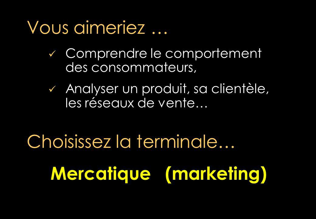 Comprendre le comportement des consommateurs, Analyser un produit, sa clientèle, les réseaux de vente… Vous aimeriez … Choisissez la terminale… Mercatique (marketing) Mercatique (marketing)