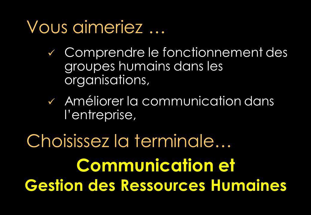 Comprendre le fonctionnement des groupes humains dans les organisations, Améliorer la communication dans lentreprise, Vous aimeriez … Choisissez la terminale… Communication et Gestion des Ressources Humaines Communication et Gestion des Ressources Humaines
