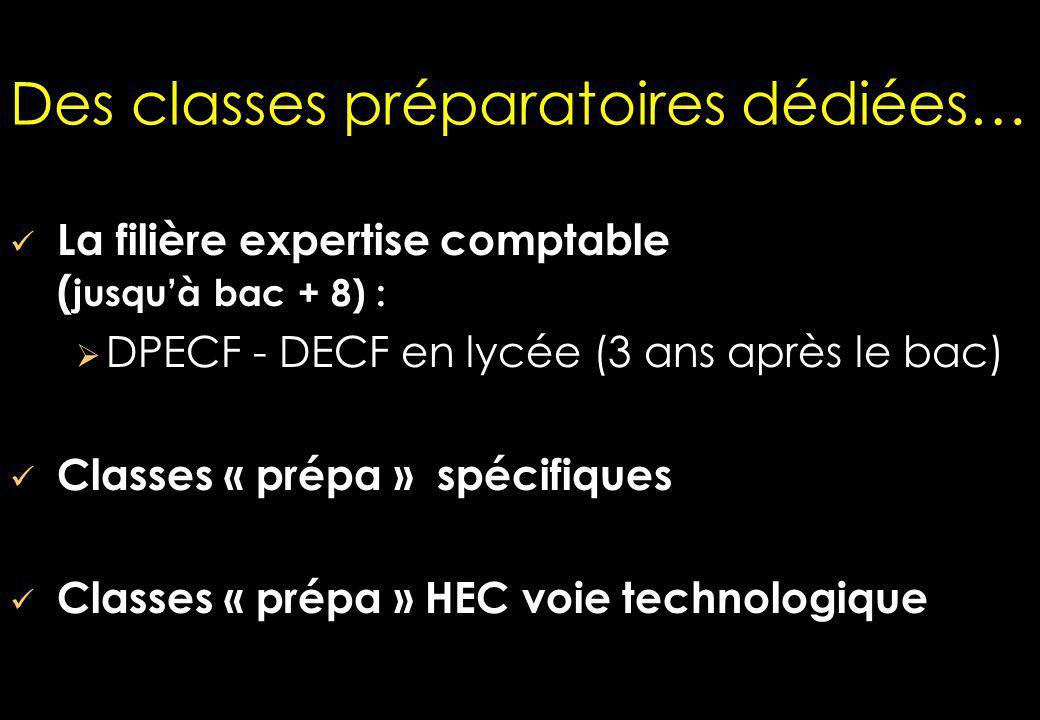 Des classes préparatoires dédiées… La filière expertise comptable ( jusquà bac + 8) : DPECF - DECF en lycée (3 ans après le bac) Classes « prépa » spécifiques Classes « prépa » HEC voie technologique