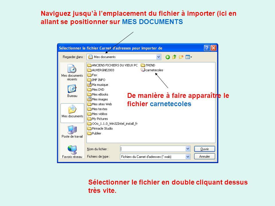Naviguez jusquà lemplacement du fichier à importer (ici en allant se positionner sur MES DOCUMENTS De manière à faire apparaître le fichier carnetecol