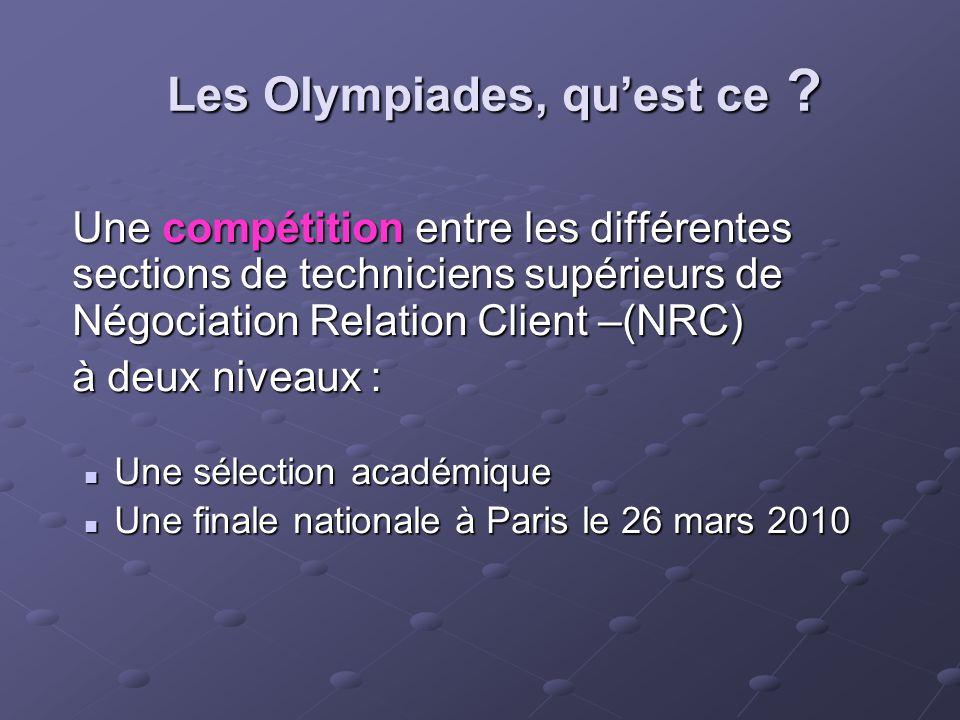 Les Olympiades, quest ce ? Une compétition entre les différentes sections de techniciens supérieurs de Négociation Relation Client –(NRC) à deux nivea