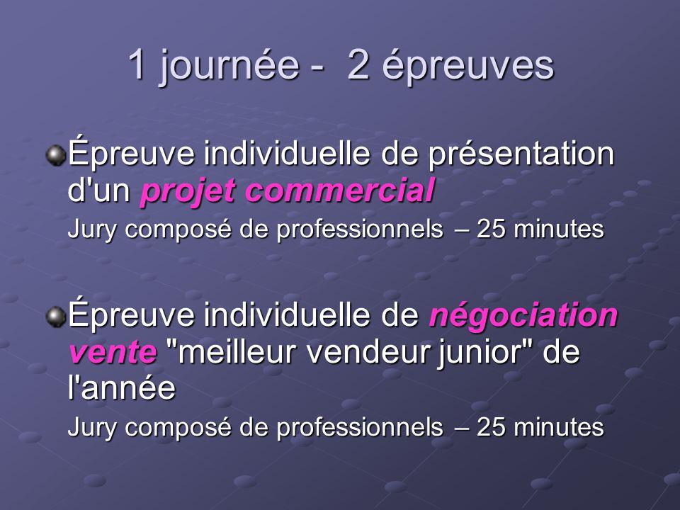 1 journée - 2 épreuves Épreuve individuelle de présentation d'un projet commercial Jury composé de professionnels – 25 minutes Épreuve individuelle de
