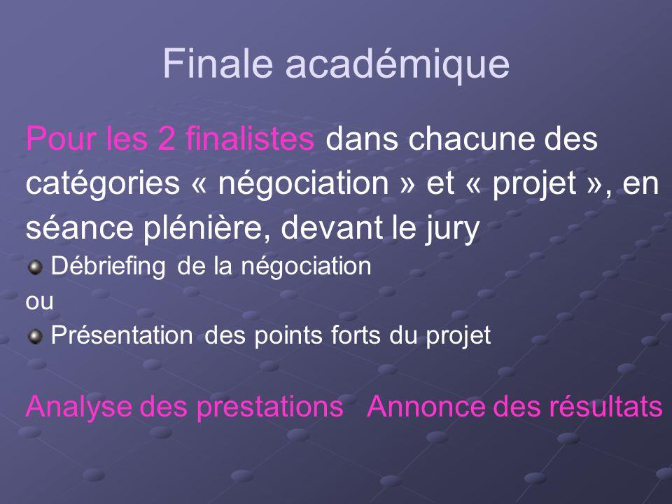 Finale académique Pour les 2 finalistes dans chacune des catégories « négociation » et « projet », en séance plénière, devant le jury Débriefing de la
