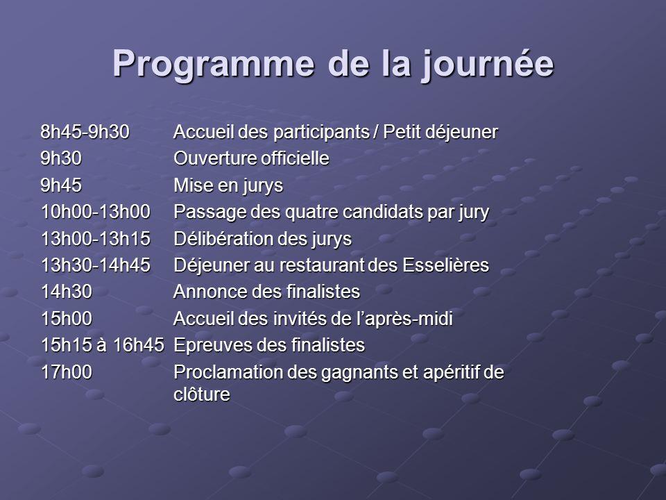 Programme de la journée 8h45-9h30 Accueil des participants / Petit déjeuner 8h45-9h30 Accueil des participants / Petit déjeuner 9h30 Ouverture officie