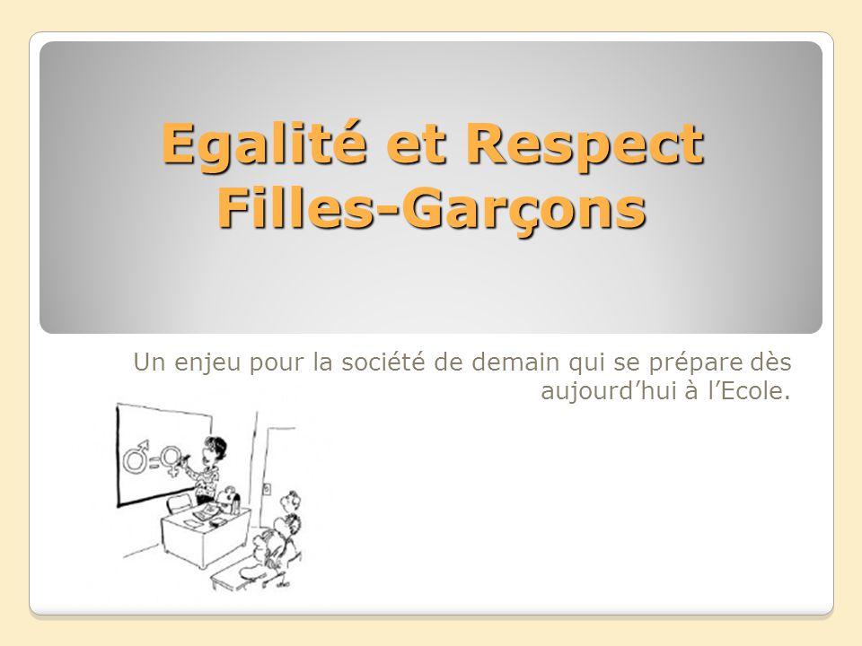 Egalité et Respect Filles-Garçons Un enjeu pour la société de demain qui se prépare dès aujourdhui à lEcole.