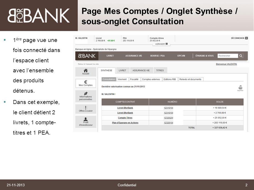 21-11-2013Confidentiel2 Page Mes Comptes / Onglet Synthèse / sous-onglet Consultation 1 ère page vue une fois connecté dans lespace client avec lensemble des produits détenus.