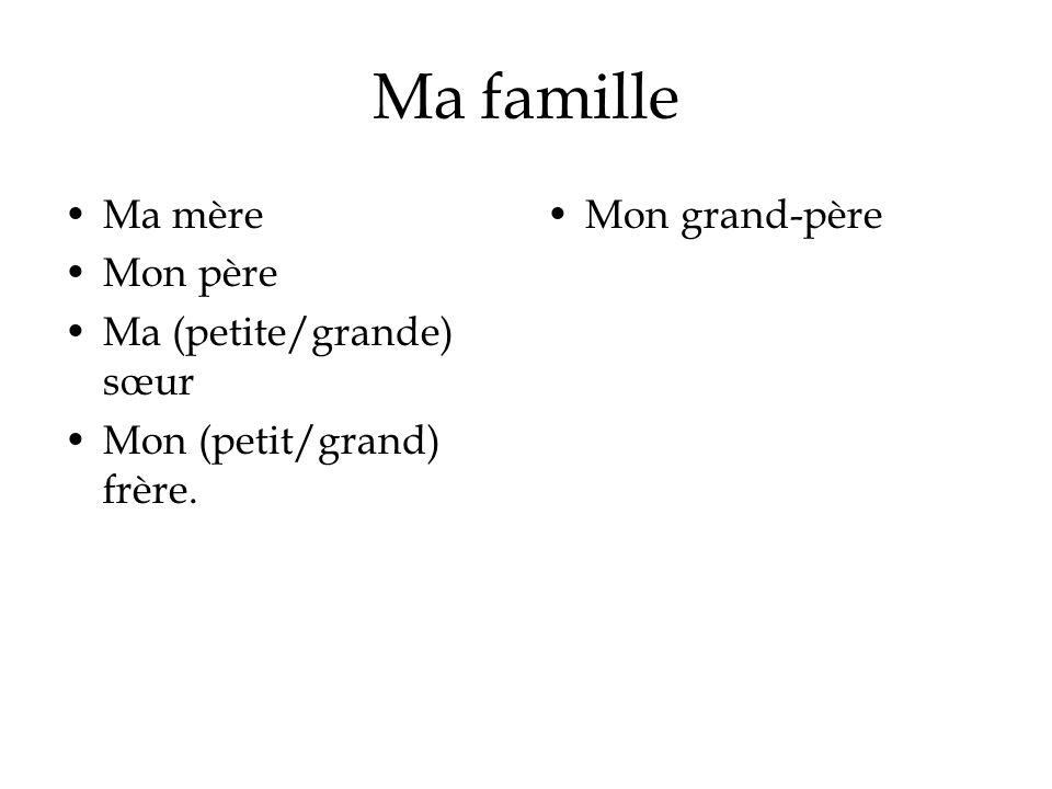 Ma famille Ma mère Mon père Ma (petite/grande) sœur Mon (petit/grand) frère. Mon grand-père