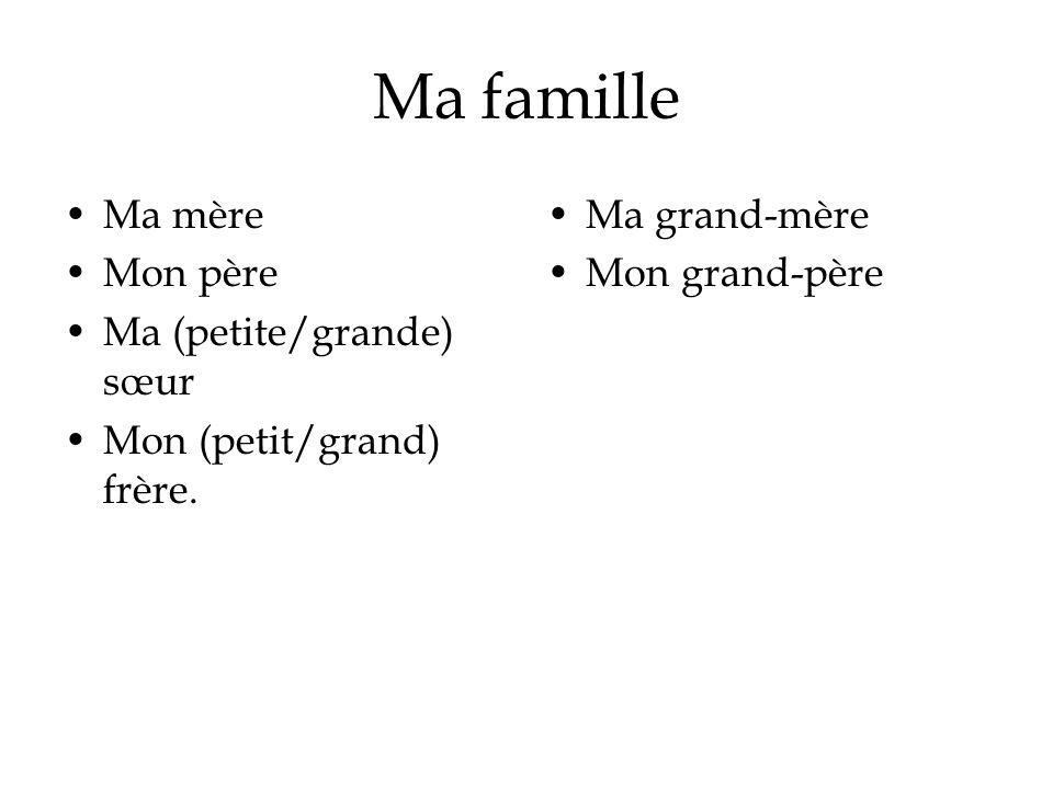 Ma famille Ma mère Mon père Ma (petite/grande) sœur Mon (petit/grand) frère.