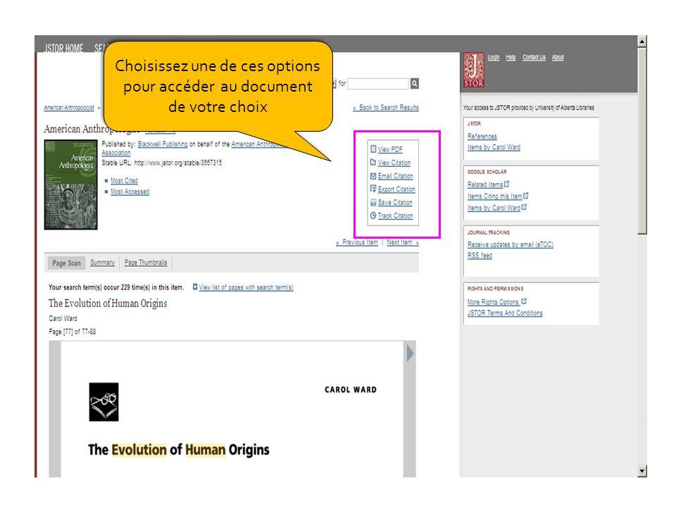 Choisissez une de ces options pour accéder au document de votre choix Choisissez une de ces options pour accéder au document de votre choix