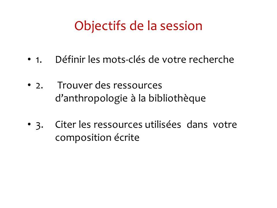 Objectifs de la session 1.Définir les mots-clés de votre recherche 2.