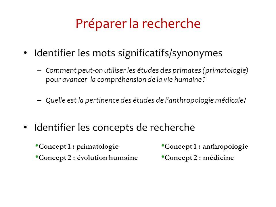 Préparer la recherche Identifier les mots significatifs/synonymes – Comment peut-on utiliser les études des primates (primatologie) pour avancer la compréhension de la vie humaine .