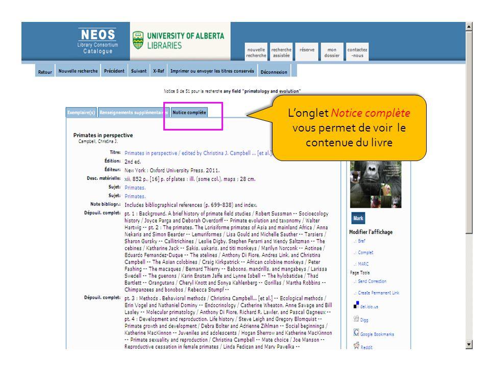 Longlet Notice complète vous permet de voir le contenue du livre