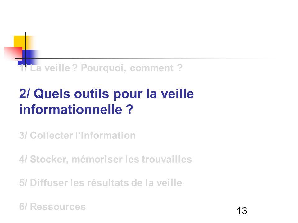 13 1/ La veille . Pourquoi, comment . 2/ Quels outils pour la veille informationnelle .