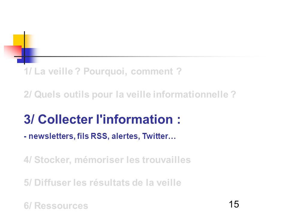 15 1/ La veille ? Pourquoi, comment ? 2/ Quels outils pour la veille informationnelle ? 3/ Collecter l'information : - newsletters, fils RSS, alertes,