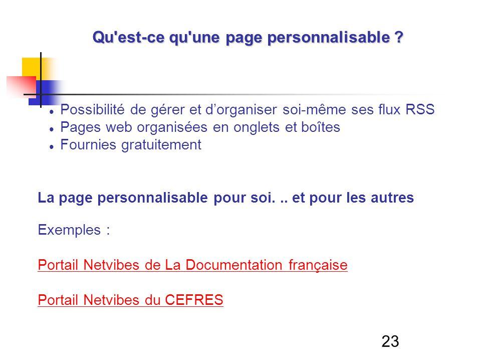 23 Qu'est-ce qu'une page personnalisable ? Possibilité de gérer et dorganiser soi-même ses flux RSS Pages web organisées en onglets et boîtes Fournies