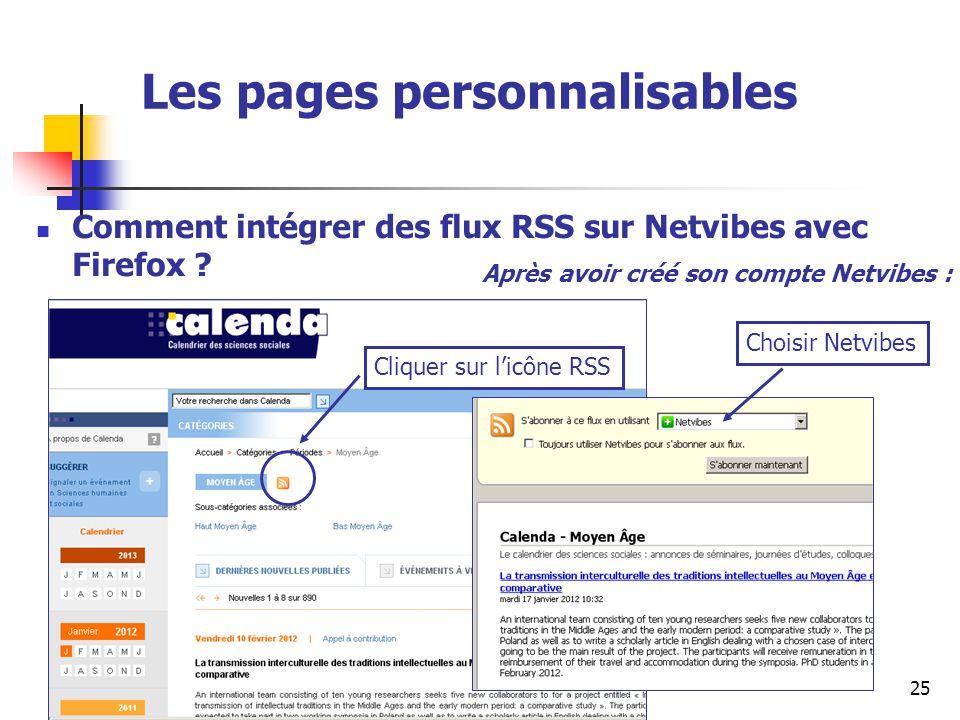 Urfist de Rennes, 201425 Les pages personnalisables Comment intégrer des flux RSS sur Netvibes avec Firefox ? Cliquer sur licône RSS Choisir Netvibes